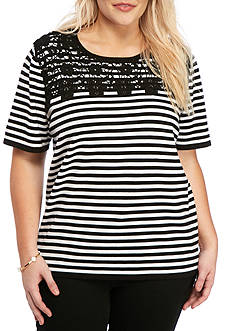 Alfred Dunner Plus-Size Classics Striped Lace Yoke Sweater