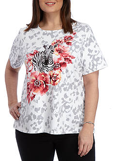 Alfred Dunner Plus Classic Zebra Tee