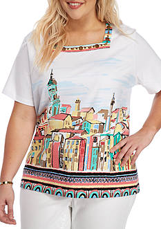 Alfred Dunner Plus-Size Classics Scenic Tee