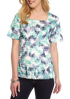 Alfred Dunner Petite Classic Abstract Eyelash Top