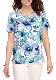 Alfred Dunner Petite Classic Watercolor Floral Tee