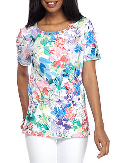 Alfred Dunner Petite Classics Floral Print Tee