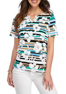 Alfred Dunner Petite Classics Striped Floral Tee
