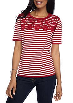 Alfred Dunner Petite Classic Stripe Lace Yoke Sweater