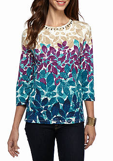 Alfred Dunner Classics Leaves Knit Tee