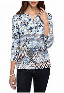 Alfred Dunner Classics Floral Biadere Knit Tee