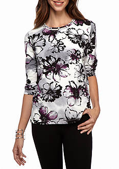 Alfred Dunner Classics Floral Shadow Knit Tee