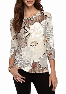 Alfred Dunner Classics Neutral Floral Knit Tee