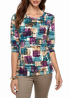 Alfred Dunner Classics Blocks Knit Tee