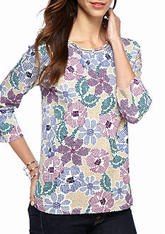 Alfred Dunner Classics Multi Floral Knit Tee