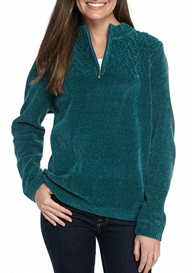 Alfred Dunner Classics Chenille Quarter Zip Top