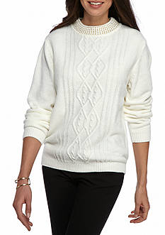 Alfred Dunner Classic Beaded Chenille Sweater