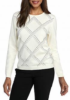 Alfred Dunner Classic Grid Embedded Sweater