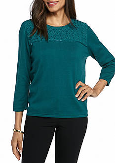 Alfred Dunner Classic Lace Yoke Sweater