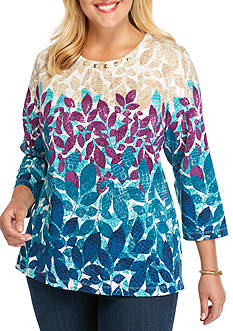 Alfred Dunner Plus Size Classics Leaves Knit Tee