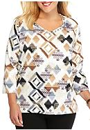Alfred Dunner Plus Size Classics Aztec Knit Tee