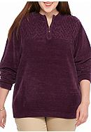 Alfred Dunner Chenille Three-Quarter Zip Sweater