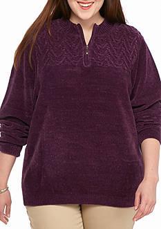 Alfred Dunner Chenille Three-Quarter Zip Sweater