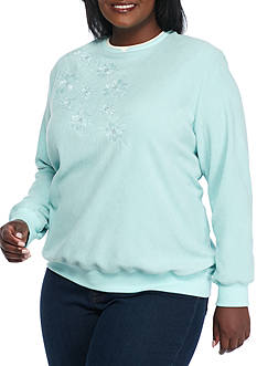 Alfred Dunner Plus Size Classics Anti-Pill Floral Sweater