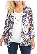 Alfred Dunner Plus Size Classics Geo Print 2Fer