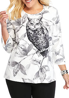 Alfred Dunner Plus Size Classics Owl Print Tee