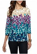 Alfred Dunner Petite Classics Leaves Knit Tee