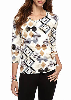 Alfred Dunner Petite Classics Aztec Knit Tee