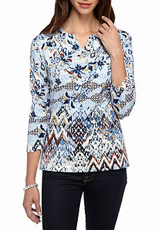 Alfred Dunner Petite Classics Floral Biadere Knit Tee
