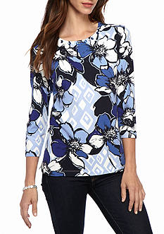 Alfred Dunner Petite Classics Allover Floral Knit Tee