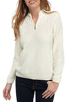 Alfred Dunner Key items Chenille Quarter Zip Sweater