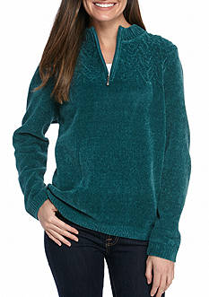 Alfred Dunner Classics Chenille Quarter Zip Pullover