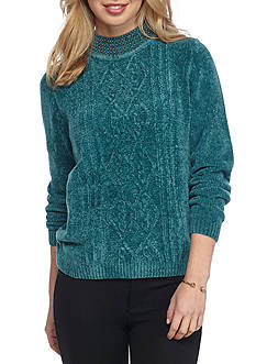 Alfred Dunner Petite Size Sweater With Embellished Beaded Collar