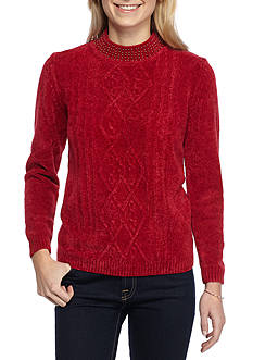 Alfred Dunner Petite Classics Beaded Sweater