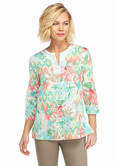 Alfred Dunner Classics Geo Floral Woven Top