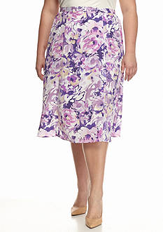 Alfred Dunner Plus Size Lavender Fields Printed Skirt
