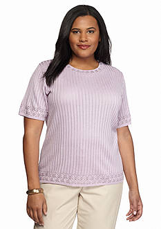 Alfred Dunner Plus Size Lavender Fields Solid Sweater Top