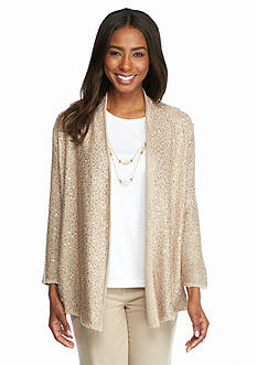 Alfred Dunner Petite Lavender Fields Sequin Cardigan 2Fer