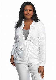 Alfred Dunner Plus Size Weekend Oasis Mesh Patchwork Jacket