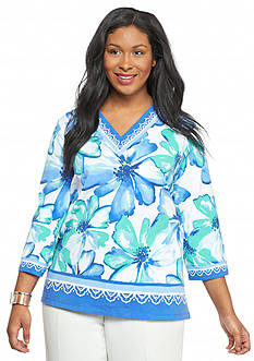 Alfred Dunner Plus Size Tropical Punch Floral Top