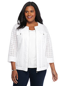 Alfred Dunner Plus Size White Now Eyelet Jacket