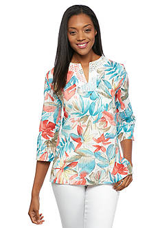 Alfred Dunner Cozumel Tropical Print Tunic Top