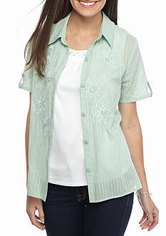 Alfred Dunner 2Fer Embroidered Top