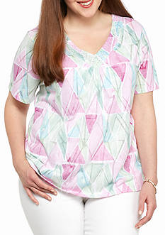 Alfred Dunner Plus Size St. Augustine Watercolor Diamond Top