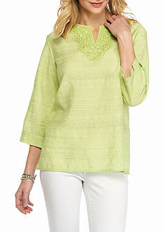 Alfred Dunner Sao Paolo Embellished Woven Tunic Top