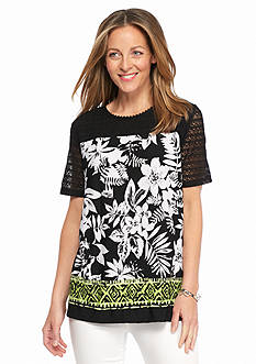 Alfred Dunner Petite Sao Paolo Printed Lace Yoke Knit Top
