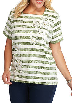 Alfred Dunner Plus Size Cyprus Striped Floral Tee