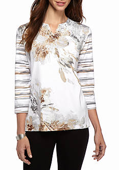 Alfred Dunner Arcadia Floral Knit Tee