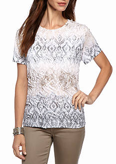 Alfred Dunner Arcadia Textured Biadere Knit Top