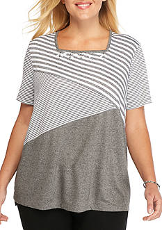 Alfred Dunner Plus Size Arcadia Spliced Stripe Top