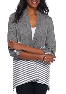 Alfred Dunner Petite Arcadia Spliced Stripe Cardigan